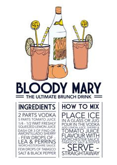 Prints w/ recipes (via SamOsborneStore on Etsy) Brunch Drinks, Cocktail Drinks, Yummy Drinks, Cocktail Recipes, Wine Recipes, Gin, Bloody Mary Bar, Bloody Mary Recipes, Cuisines Diy