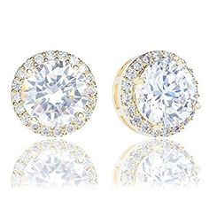 18k Gold Plated Cubic Zirconia Round Halo Stud Earrings (3.45 carats) by Orrous & Co.