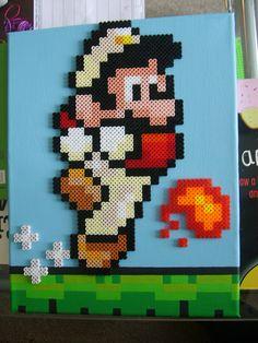 Super Mario (35x28cm) Perler, Hama and Nabbi beads on acrylic painted canvas by ShampooTeacher