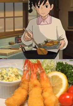 Ghibli Feast - From up on Poppy Hill Shrimp Tempura via cooking with dog