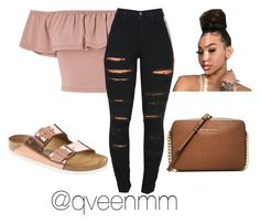 A fashion look from August 2017 featuring polyester shirt, skinny jeans and strap shoes. Browse and shop related looks. School Outfits, Girl Outfits, Cute Outfits, Fit Black Women, Fit Women, Gold Birkenstocks, Fashion Looks, Women's Fashion, Fashion Killa