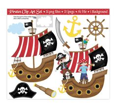 Digital Stamp Pirate Whimsical Digistamp Instant Download