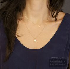 Tiny Gold Triangle Necklace / FLOATING TRIANGLE Necklace // Minimal, Delicate Everyday Necklace // Little Gold Triangle, 14K Gold Fill Chain on Etsy, $28.00