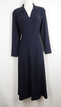 COLDWATER CREEK Size M Black V neck 3/4 Sleeve Flare Calf Length Dress #ColdwaterCreek