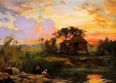 """Fernando Amorsolo y Cueto, Filipino painter, was an important influence on contemporary Filipino art and artists, even beyond the so-called """"Amorsolo school"""". Subjects: Philippine Genre, historical and society Portraits. Classic Paintings, Beautiful Paintings, Manila, Filipino Art, Philippine Art, Abstract Painters, Vintage Artwork, New Artists, Art Auction"""