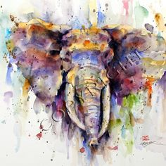 ELEPHANT Watercolor Print by Dean Crouser by DeanCrouserArt