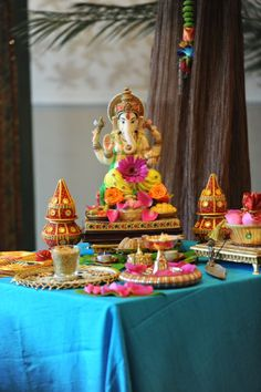 Colourful Ganesh Table. Indian Wedding Decoration