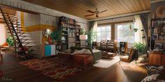 ArtStation - 70s Listening Room, Joseph Nickson