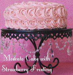 Moscato Cake with Strawberry Frosting. Recipe on { lilluna.com }