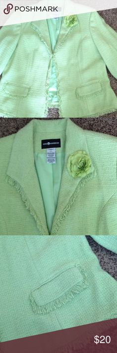 Ladies blazer Flower on lapel, long sleeve. Product tag in listing, no rips no tears no stains. Sag Harbor Jackets & Coats Blazers