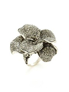 """Azaara Vintage Pave Crystal Flower Ring, Silver-plated alloy with oxidized accents flower-shaped ring with hand set black diamond Swarovski crystal details Ring is not sizeable Please note: each piece is handmade therefore stone inclusions, shape and size may vary slightly which is a desirable aspect of this piece. Measurements: Approximately 1¾"""" long, approximately 1¾"""" at widest point Material: Silver-plated alloy and Swarovski crystal Brand: Azaara Vintage Origin: United States"""