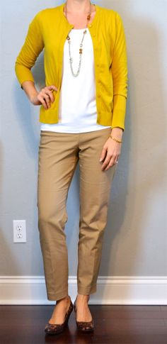 outfit post: beige ankle pant, mustard cardigan, leopard wedges