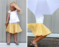 Girls' circle skirt tutorial, made with exposed elastic waist and self-drafted pattern. Diy Circle Skirt, Circle Skirt Pattern, Circle Skirt Tutorial, Circle Skirts, Tutu Tutorial, Girls Skirt Patterns, Sewing Patterns, Coat Patterns, Blouse Patterns