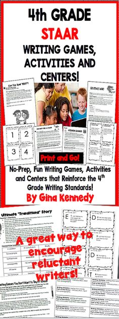 No-Prep, fun and challenging 4th Grade STAAR writing games, centers and activities. A fun and creative way to review writing skills and prepare your students for their state writing exam. From developing a closing argument to writing the perfect introductory paragraph, the activities and games included in this resource will bring new life to your writing instruction! Great for writing camps!$