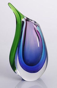 Hand Blown Purple, Blue, & Green Sommerso Teardrop Art Glass Vase