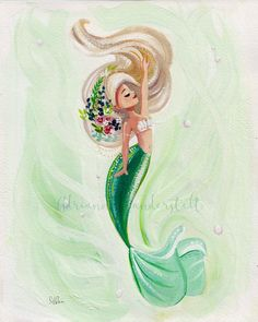 Peaceful Mermaid reproduction of an original gouache painting Paper Giclee Elegance Velvet Archival Fine Art Paper SIZE 8 x 10 in.  Signed by me, the artist  Watermark not on actual print  Frame not included I ship all packages via the USPS, and will include tracking numbers with all domestic