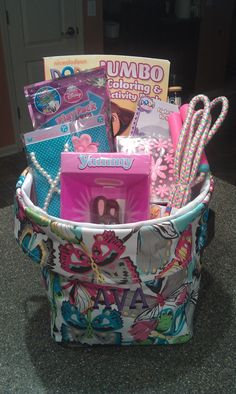 Mini Utility Bin In Flutter Filled With Toys Candy For A Little Girls Easter Basket