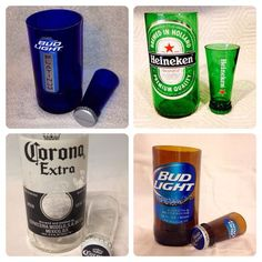 Beer Bottle Shot Glass Chaser Set. Recycled Glass Bottle. Man Cave. Groomsmen Gift. on Etsy, $10.00: