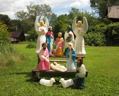 Christmas outdoor lighted blow mold life size nativity figures vintage blow mold nativity lighted christmas outdoor decor display angel mozeypictures Image collections