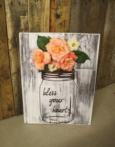 """Mason Jar Floral Decorations with Whitewash Finish """"Bless Your Heart"""" Wooden Sign -  - 1"""
