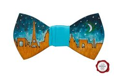 Wood bow tie / painted bow tie / wooden bow tie/Paris /