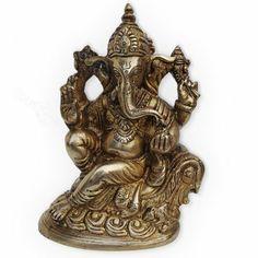Shri Ganesha Side Sitting Handmade Brass Statue Gift from India