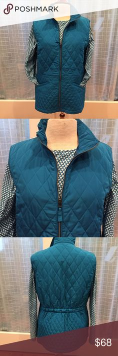 NWOT! Talbots Quilted Vest NWOT! Jewel toned teal highlights this gorgeous vest from Talbots. Full zip to stand up collar. Pull tab is a grosgrain ribbon. Two front hand pockets. Elastic in back to add a feminine touch and show off your curves. Never worn. Talbots Jackets & Coats Vests