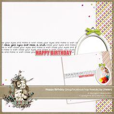 Happy Birthday quick page freebie from Helen #scrapbook #digiscrap #scrapbooking #digifree #scrap