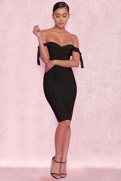 Clothing : Bandage Dresses : 'Solaine' Black Off Shoulder Bandage Dress