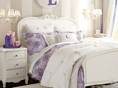 Love the chandeliers over the end tables and the over all feel of this room :) Lilac Flower Burst Bedroom | PBteen