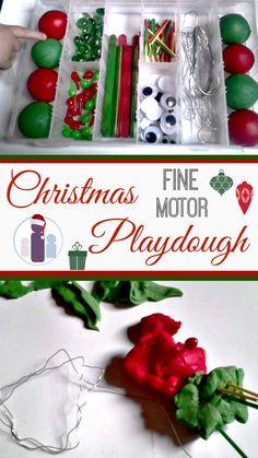 Christmas fine motor playdough kit!  #Christmas #KidsActivities