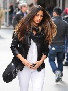 White jeans, black jacket, snood