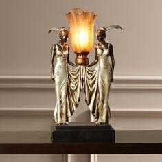 Hopwood Peacock Maidens Illuminated Figurine
