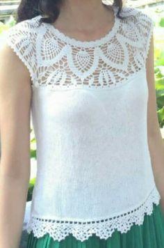 Crochet T Shirts, Crochet Fabric, Crochet Tunic, Crochet Collar, Diy Crochet, Crochet Clothes, Crochet Stitches, Crochet Top, Evening Blouses