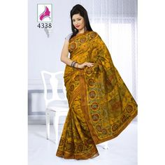 Brasso premium print sarees with dark golden color saree 4338