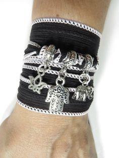 Bohemian Lotus Yoga Silk Wrap Bracelet Yoga Jewelry Hamsa Black Wrist Band  Sacred Elephant Spiritual Jewelry Buddhist Bracelet Unique Gift by HVart on Etsy https://www.etsy.com/listing/196486853/bohemian-lotus-yoga-silk-wrap-bracelet