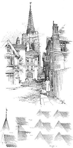 B. G. Goodhue pen and ink drawing from Pen Drawing by Charles Maginnis: