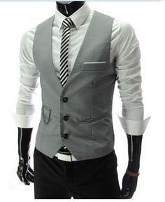 7807afe36b7 Buy Men s Vests Suit Vest Gilet Homme Business Jacket Vest Dress Vests For  Men Slim Fit