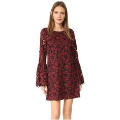 LIKELY Lace Perry Dress (£215) ❤ liked on Polyvore featuring dresses, red dress, red lace dress, floral lace dress, red a line dress and lace shift dress