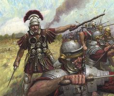 A Centurion directs Roman Legionaries in a First Century AD battle.