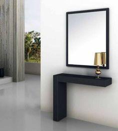 Si buscas consolas y espejos para la decoración de tu casa, visita nuestra tienda online. Recibidores y Muebles de madera de diseño moderno. #fachadasminimalistasmadera