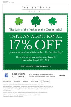 Pottery Barn Outlets- 17% off printable coupon-