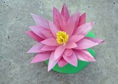 Water lily made from a milk jug