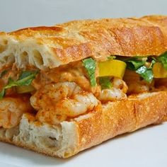 Pickled Green Tomato And Shrimp Remoulade Po Boy