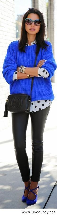 Love the polka dot button up under the bright solid sweater