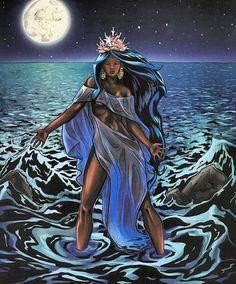 Odoyá 💙🌊👑🕯 Imagem via Black Love Art, Black Girl Art, Art Girl, African Mythology, African Goddess, African American Art, African Art, Yemaya Orisha, Orishas Yoruba