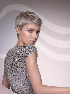 Ash blonde pixie haircut