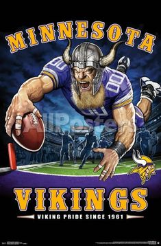 Equipo Minnesota Vikings, Minnesota Vikings Football, Nfl Vikings, Dallas Cowboys, Pittsburgh Steelers, Nfl Football Teams, Football Art, Nfl Sports, Football Posters