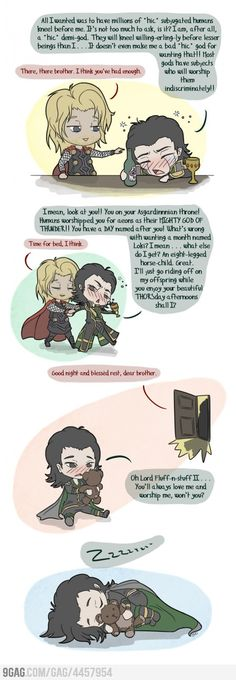 Loki's Softer Side.  Little cartoon Thor and Loki are pretty stinkin' cute.