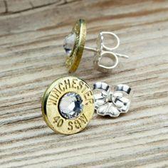 Dainty Winchester .40 S Brass Bullet Head Stud Earrings